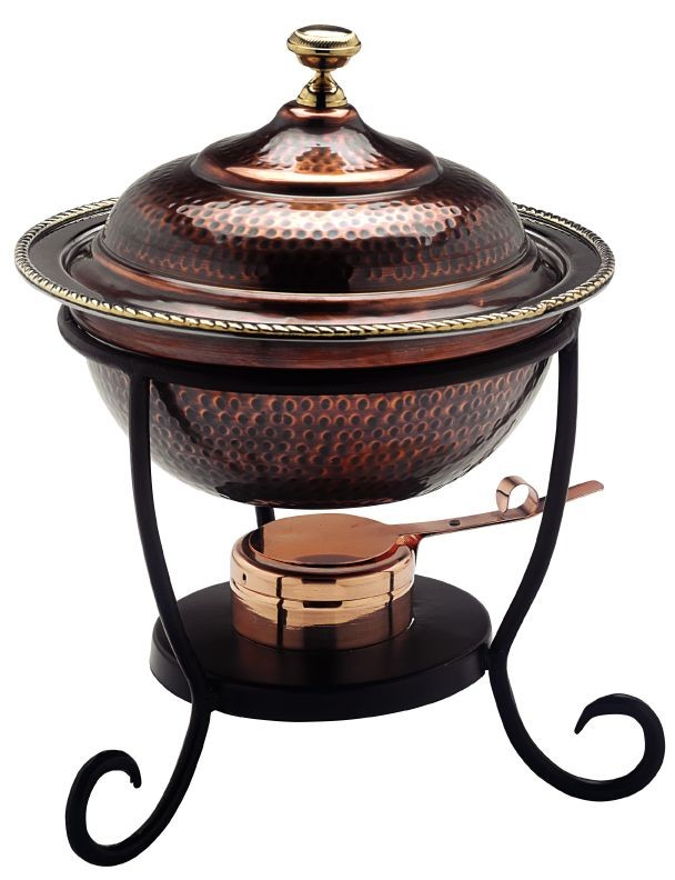 Old Dutch International 840 Antique Copper over Stainless Steel Round Chafing Dish, 3 Qt.