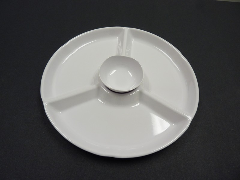 "Yanco rm-821 Rome 12 1/4"" 4-Compartment Round White Melamine Plate"