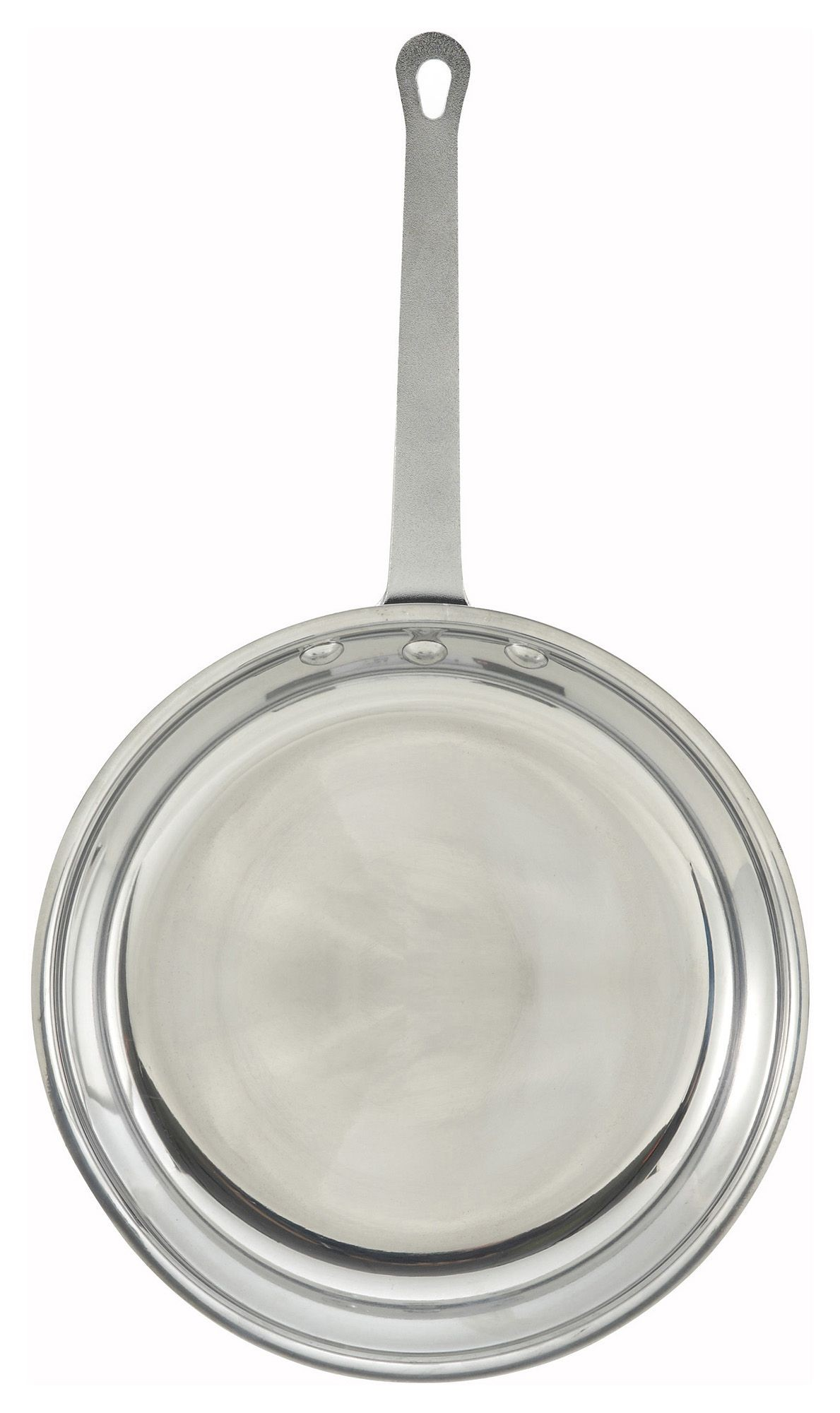 "Winco AFP-12 12"" Majestic Aluminum Fry Pan with Mirror Finish"