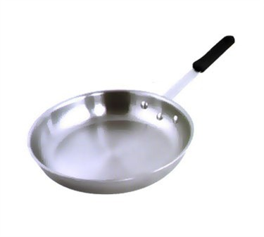 "Winco AFP-12A-H 12"" Gladiator Aluminum Fry Pan with Natural Finish and Silicone Sleeve"