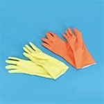 Orange Reusable Flock Lined Latex Gloves, Extra-Large