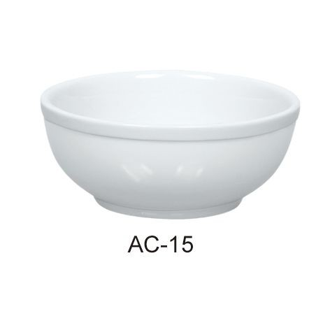 12 Oz Nappie Bowl - Bright White Wide Rim China