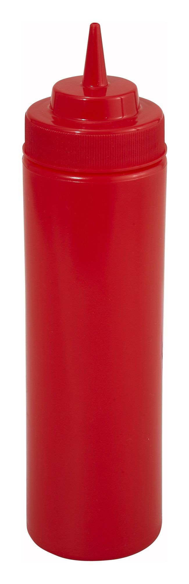Winco PSW-12R Red Plastic 12 oz. Wide Mouth Squeeze Bottle