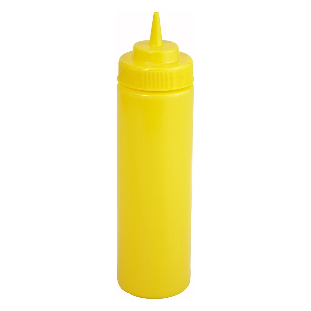 Winco PSW-12Y Yellow Plastic 12 oz. Wide Mouth Squeeze Bottle