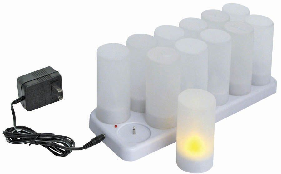 12pcs/set Rechargeable Tealight with Plastic Cup battery included