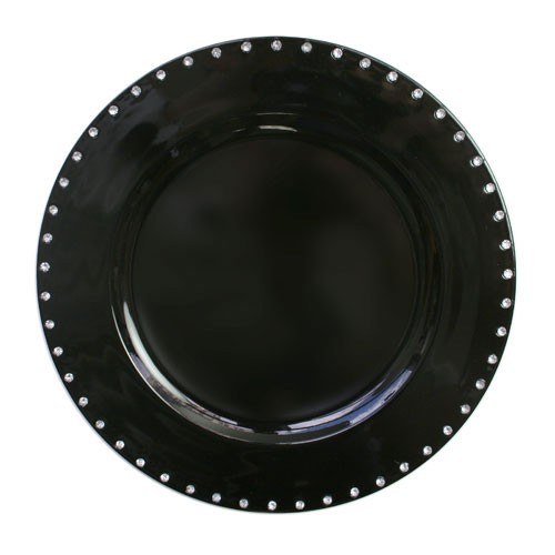 """Jay Import A467BK Black Jewels Rim 13"""" Charger Plate"""