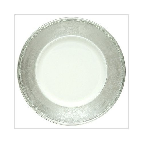 """Jay Companies A466HRK-W Broken Silver Leaf Rim 13"""" Charger Plate"""