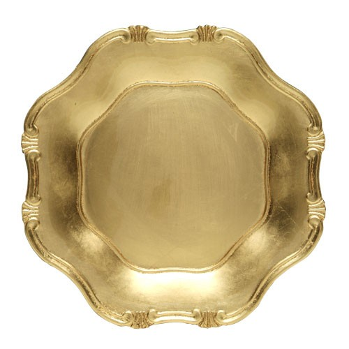 "Jay Import A275GR Gold Baroque 13"" Charger Plate"