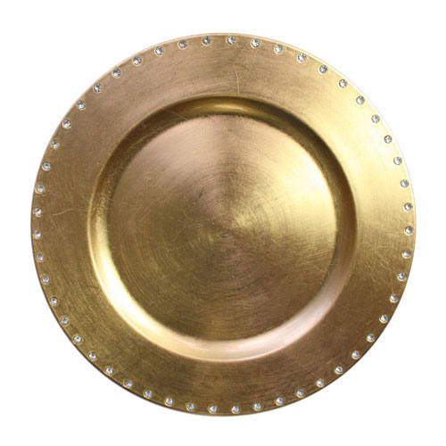 "Jay Import A467GR Gold Jewels Rim 13"" Charger Plate"