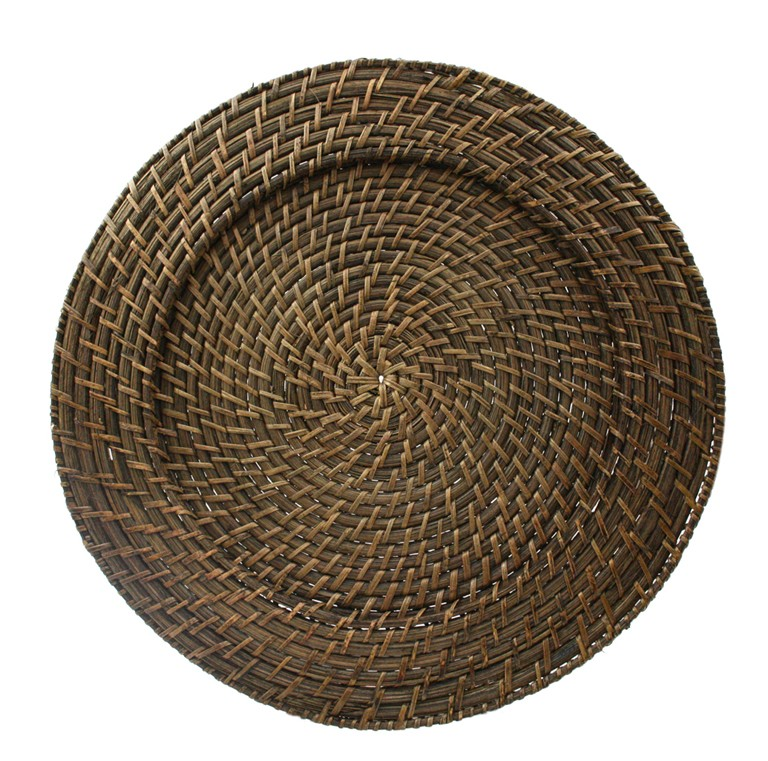 "Jay Import 1660149 Round Rattan 13"" Charger Plate, Brick Brown"