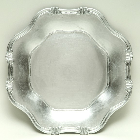 """Jay Import A275HR Silver Baroque 13"""" Charger Plate"""