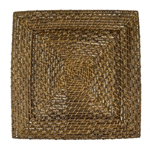 """Jay Import 1660147 Square Rattan 13"""" Charger Plate, Dark Brown"""