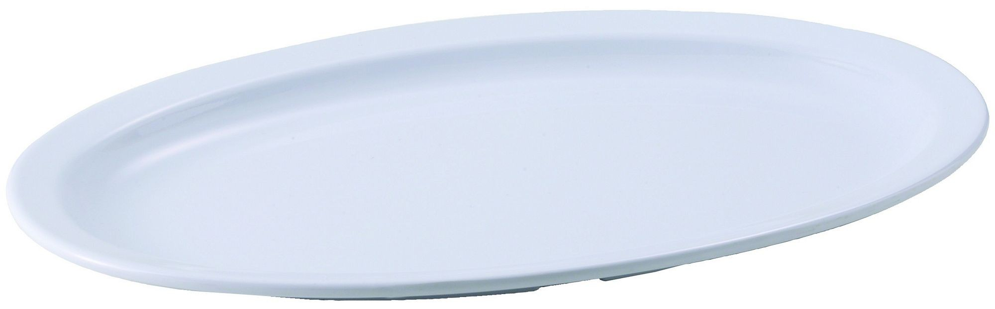 """Winco MMPO-138W White Melamine 13"""" x 8"""" Oval Platter with Narrow Rim"""
