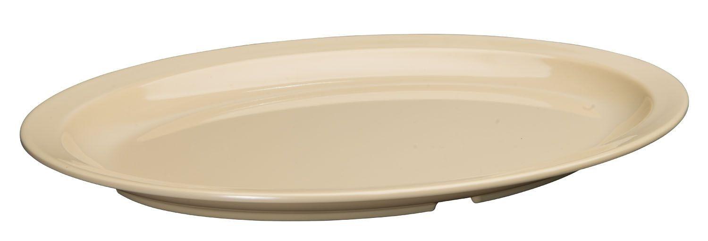 "Winco MMPO-138 Tan Melamine 13"" x 8"" Oval Platter with Narrow Rim"