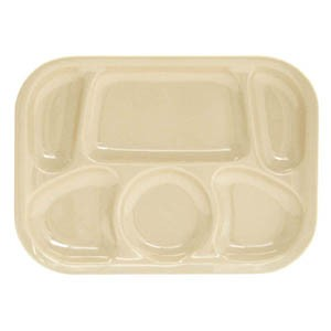 "Thunder Group ML803T Tan Melamine Compartment Tray, 13"" x 9-1/2"""
