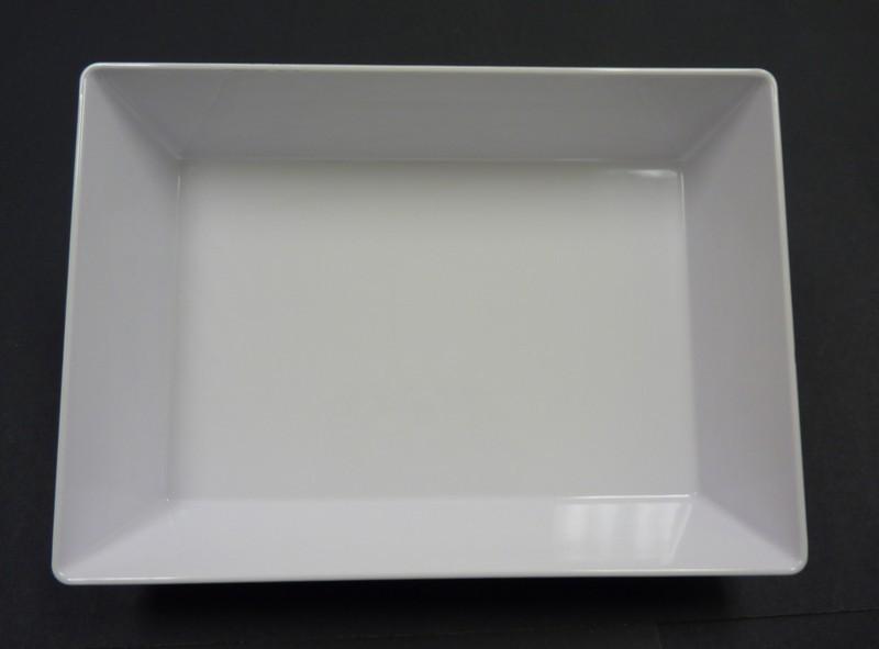 "Yanco RM-614 Rome 13 3/4"" x 10"" x 2 1/2"" Rectangular White Melamine Deep Plate"