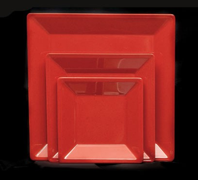 Thunder Group PS3214RD Passion Red Melamine Square Plate 13 3/4""