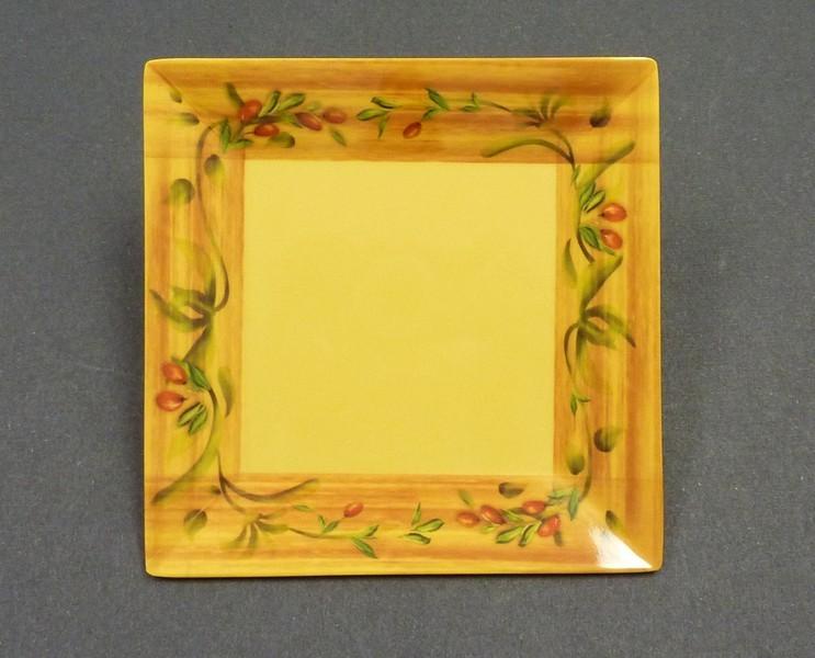 "Yanco OL-114 Olive 14"" Square Plate"