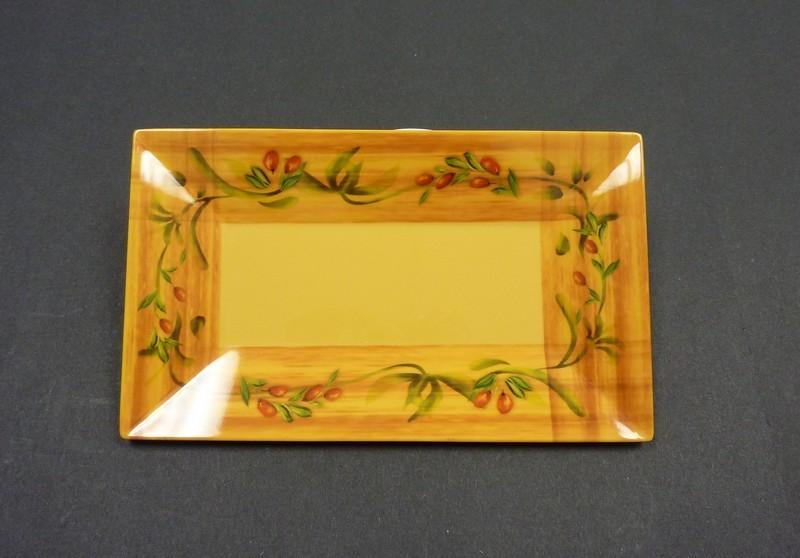 "Yanco OL-214 Olive 14"" x 8"" Rectangular Plate"
