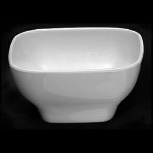"Passion White Rounded Square Melamine Bowl, 4-3/4"", 14 oz."