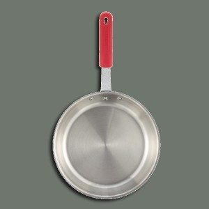 "Winco FPT3-14 14"" Tri-Ply Stainless Steel Fry Pan with Red Silicone Sleeve"