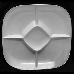 "Thunder Group PS1515W Passion White Melamine Chip and Dip Platter, 15"" x 15"""
