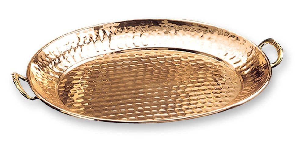 """Old Dutch International 252 Oval Decor Copper Tray with Cast Brass Handles, 15"""" x 11"""""""