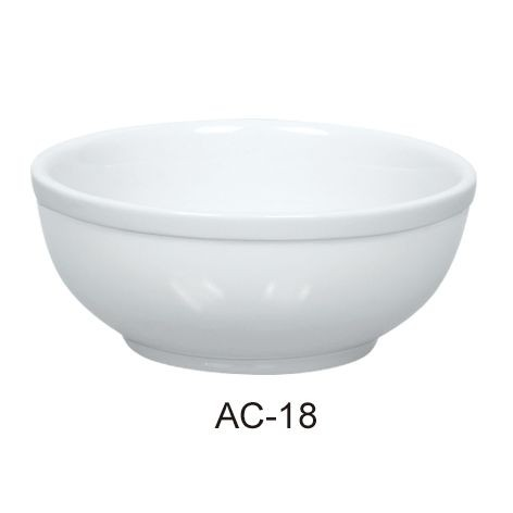 15 Oz Nappie Bowl- Bright White Wide Rim China