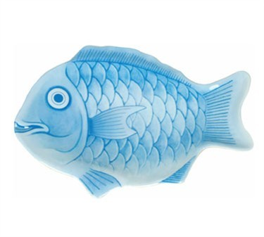 "Thunder Group 1600CFB 16"" Blue Fish Shape Melamine Platter"