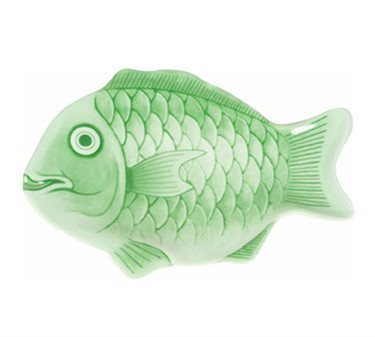 "Thunder Group 1600CFG 16""Light Green Fish Shape Melamine Platter"