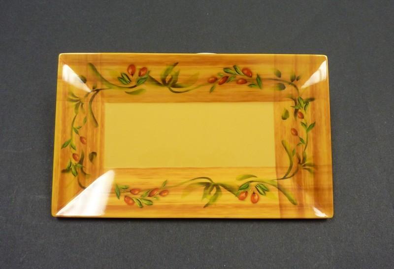 "Yanco OL-216 Olive 16"" x 9 1/2"" Rectangular Plate"