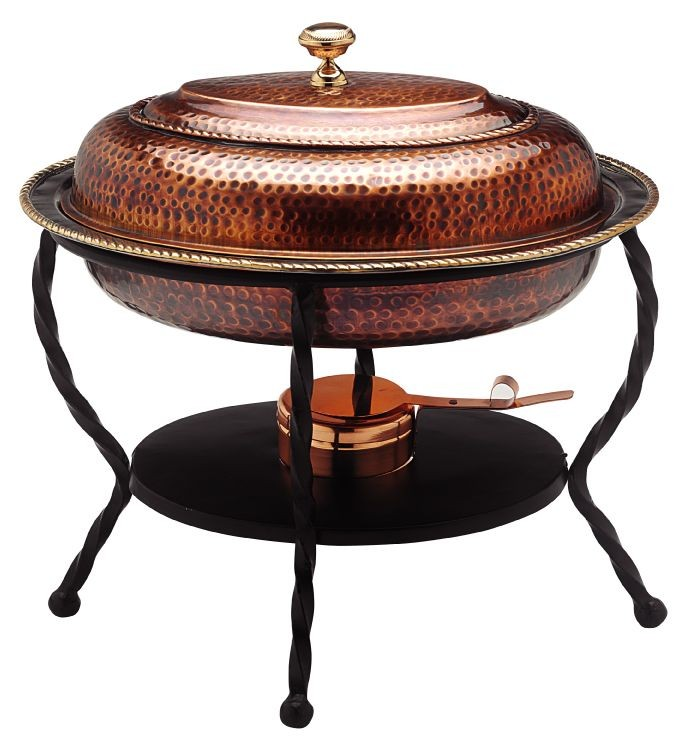 Old Dutch International 841 Antique Copper over Stainless Steel Oval Chafing Dish, 6 Qt.