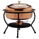 Old Dutch 892 Decor Copper over Stainless Steel Oval Chafing Dish, 6 Qt.