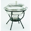 Old Dutch International 682 Polished Nickel over Stainless Steel Oval Chafing Dish, 6 Qt.