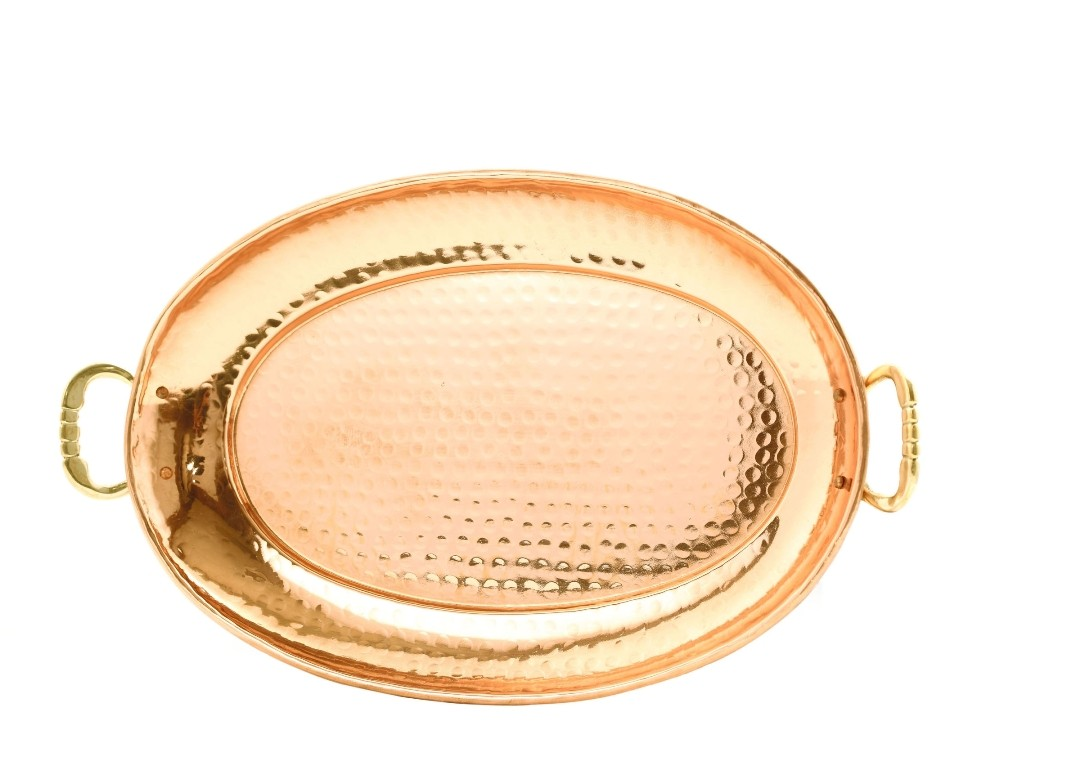 "Old Dutch 253 Oval Decor Copper Tray with Cast Brass Handles, 17"" x 13"""