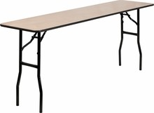 "Flash Furniture YT-WTFT18X72-TBL-GG 18"" x 72"" Rectangular Wood Folding Training/Seminar Table with Smooth Clear Coated Finished Top"