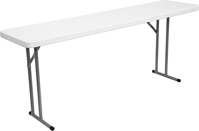 Flash Furniture DAD-YCZ-180-GW-GG 18''W x 72''L Granite White Plastic Folding Table
