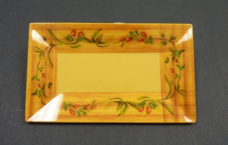 "Yanco OL-218 Olive 18"" x 10 1/2"" Rectangular Plate"