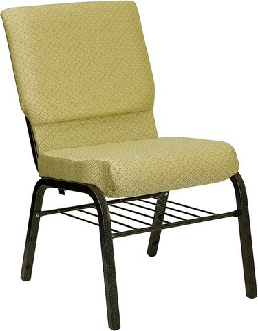 "Flash Furniture XU-CH-60096-BGE-BAS-GG Hercules Series 18.5"" Beige Patterned Church Chair, Book Basket and Gold Vein Frame Finish"