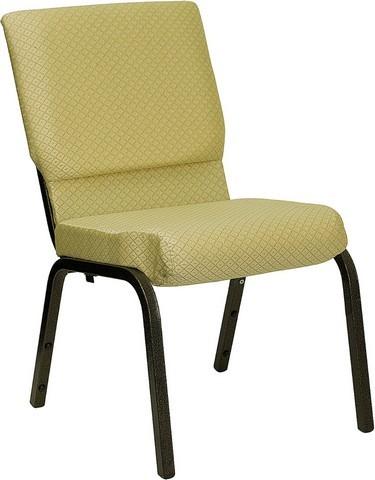 "Flash Furniture XU-CH-60096-BGE-GG Hercules Series 18.5"" Beige Patterned Church Chair/Gold Vein Frame Finish"