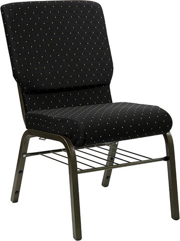 "Flash Furniture xu-ch-60096-BK-bas-gg Hercules Series 18.5"" Black Patterned Church Chair with Book Basket and Gold Vein Frame Finish"