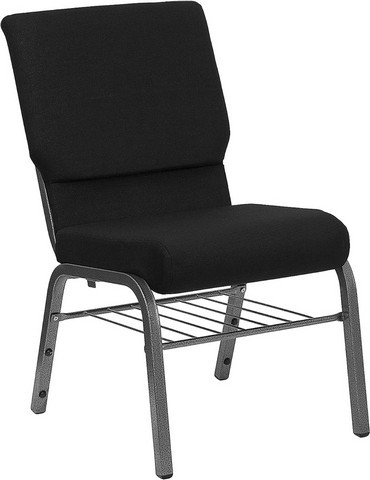 "Flash Furniture xu-ch-60096-BK-sv-bas-gg Hercules Series 18.5"" Black Stacking Church Chair Silver Vein Frame Finish, Book Basket"