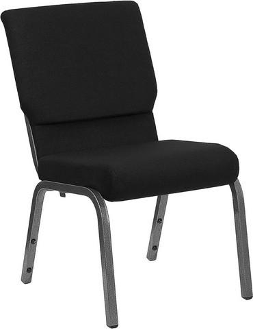"Flash Furniture xu-ch-60096-BK-sv-gg Hercules Series 18.5"" Black Stacking Church Chair Silver Vein Frame Finish"