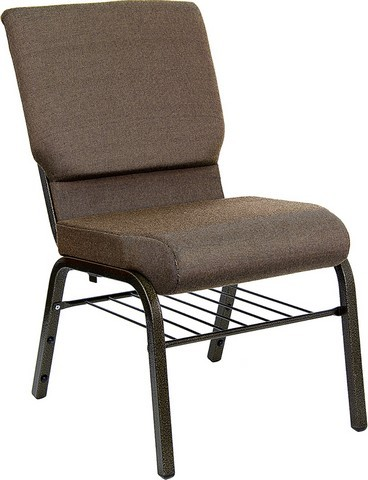 "Flash Furniture XU-CH-60096-BN-BAS-GG Hercules Series 18.5"" Brown Fabric Church Chair with Book Basket and Gold Vein Frame Finish"