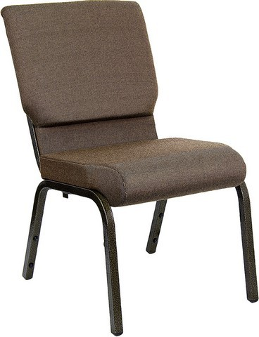 "Flash Furniture XU-CH-60096-BN-GG Hercules Series 18.5"" Brown Fabric Stacking Church Chair and Gold Vein Frame Finish"