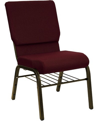 "Flash Furniture XU-CH-60096-BY-BAS-GG Hercules Series 18.5"" Burgundy Church Chair with Book Basket and Gold Vein Frame"