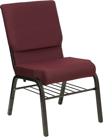 "Flash Furniture XU-CH-60096-BYXY56-BAS-GG Hercules Series 18.5"" Burgundy Patterned Church Chair, Book Basket and Gold Vein Frame"