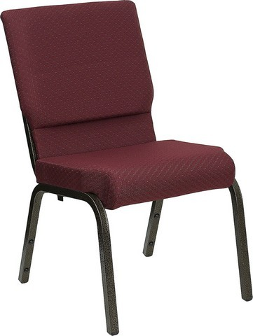18.5''W Burgundy Patterned HERCULES Church Chair - Gold Vein Frame