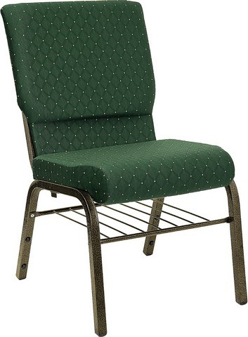"Flash Furniture XU-CH-60096-GN-BAS-GG Hercules Series 18.5"" Green Patterned Church Chair with Book Basket and Gold Vein Frame"