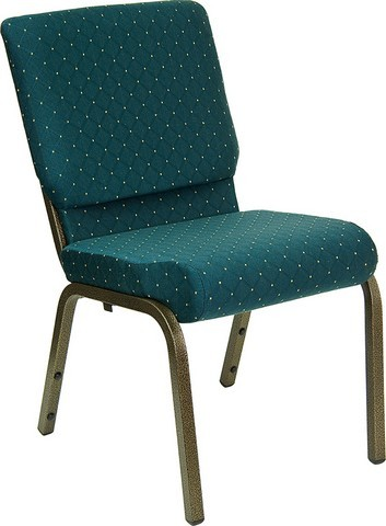 """Flash Furniture XU-CH-60096-GN-GG Hercules Series 18.5"""" Green Patterned Stacking Church Chair and Gold Vein Frame"""